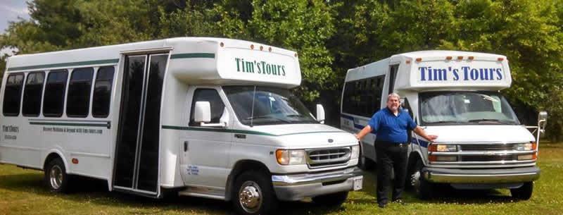 Tim's Tours - the Green bus and the Blue bus
